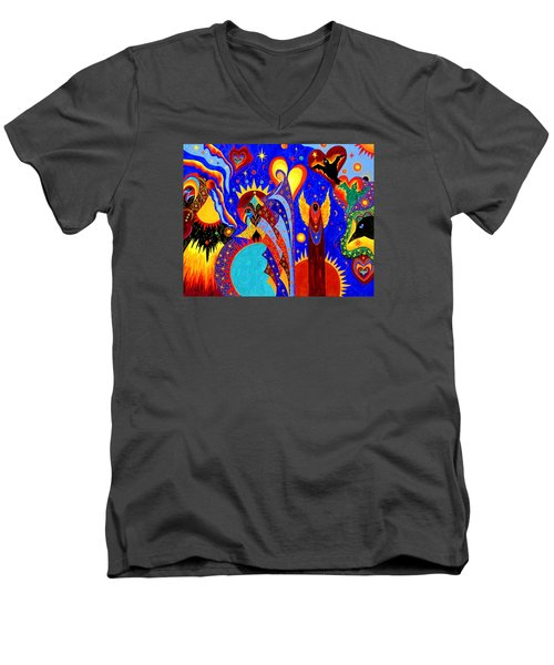Men's V-Neck T-Shirt featuring the painting Angel Fire by Marina Petro