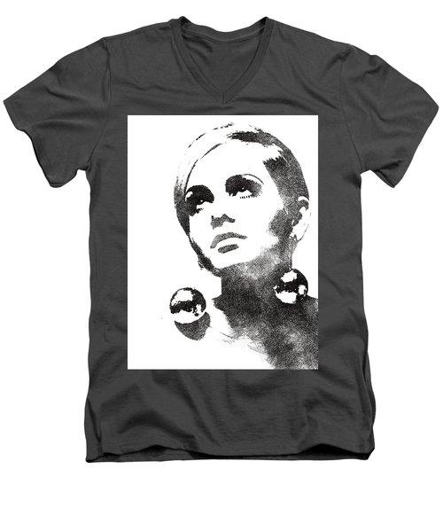 Twiggy Bw Portrait Men's V-Neck T-Shirt by Mihaela Pater