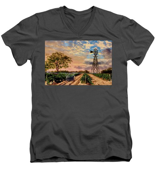 Twilight At The Vineyard Men's V-Neck T-Shirt by Ron Chambers
