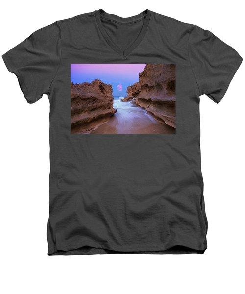 Twilight Moon Rising Over Hutchinson Island Beach Rocks Men's V-Neck T-Shirt by Justin Kelefas