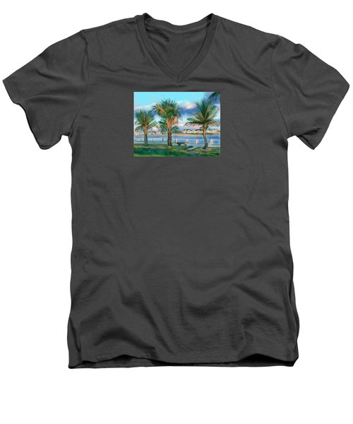 Men's V-Neck T-Shirt featuring the digital art Twilight On Saw Fish Bay by Jean Pacheco Ravinski