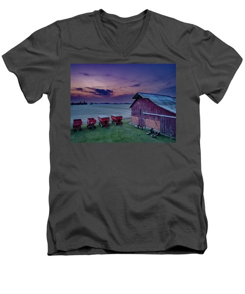 Twilight On The Farm Men's V-Neck T-Shirt