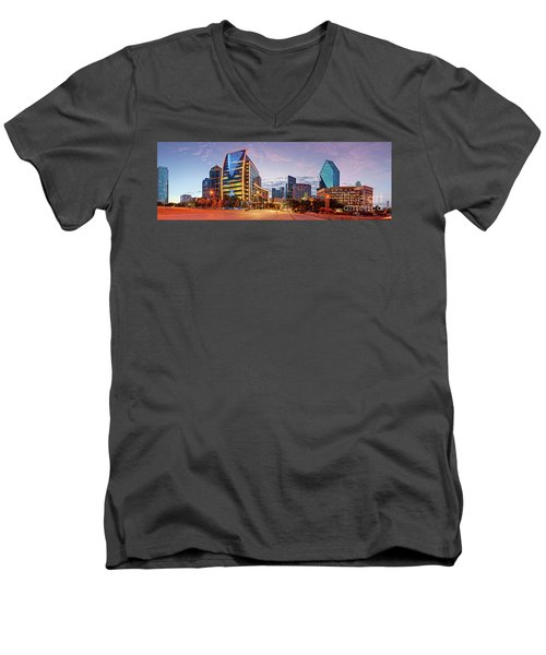 Twilight Panorama Of Downtown Dallas Skyline - North Akard Street Dallas Texas Men's V-Neck T-Shirt