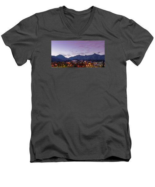 Twilight Panorama Of Estes Park, Stanley Hotel, Castle Mountain And Lumpy Ridge - Rocky Mountains  Men's V-Neck T-Shirt