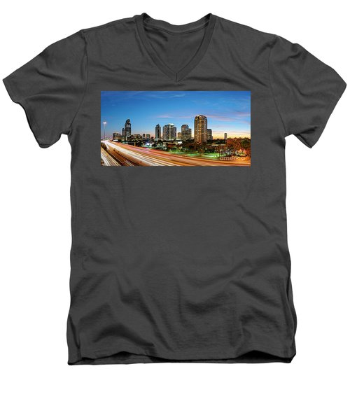Twilight Panorama Of Uptown Houston Business District And Galleria Area Skyline Harris County Texas Men's V-Neck T-Shirt
