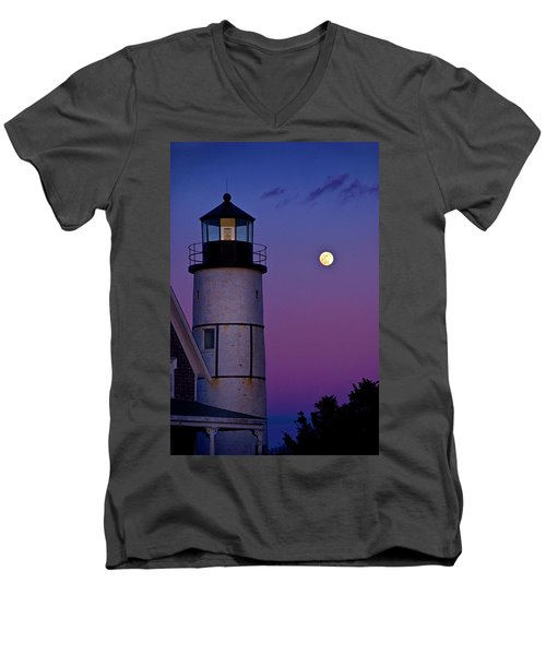Twilight At Sandy Neck Lighthouse Men's V-Neck T-Shirt