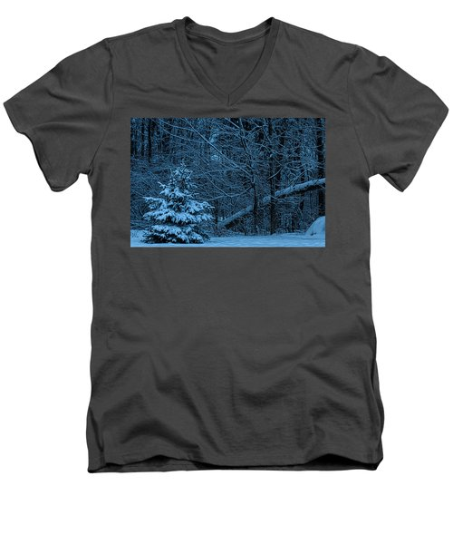Men's V-Neck T-Shirt featuring the photograph Twilight Snow by Trey Foerster