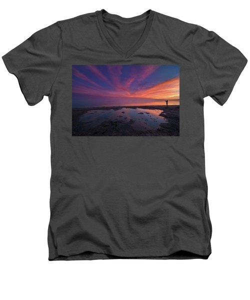 Twilight Time Men's V-Neck T-Shirt by Ralph Vazquez