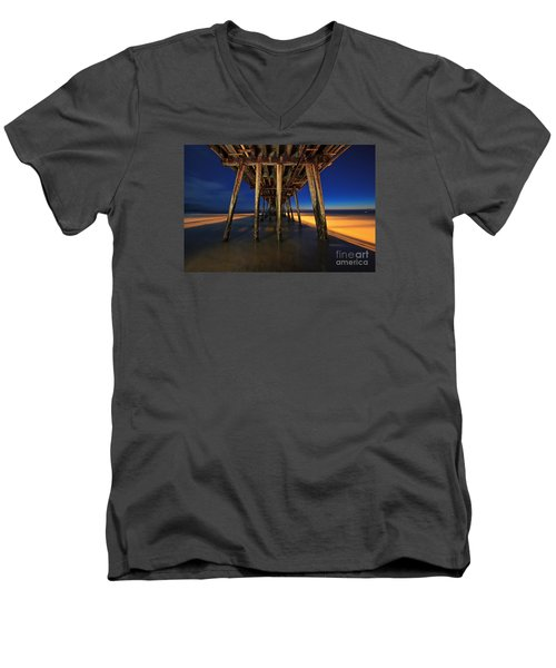 Twilight Under The Imperial Beach Pier San Diego California Men's V-Neck T-Shirt by Sam Antonio Photography