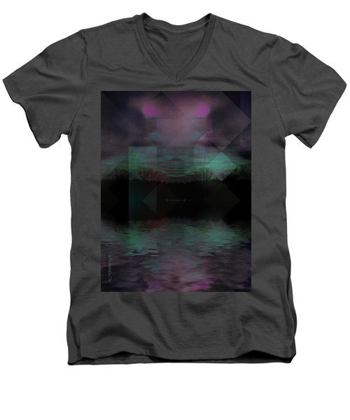 Men's V-Neck T-Shirt featuring the digital art Twilight Zone by Mimulux patricia no No