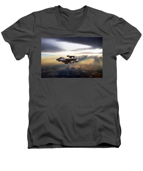 Men's V-Neck T-Shirt featuring the digital art Twilight's Last Gleaming by Peter Chilelli