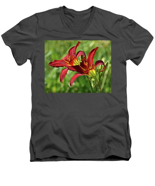 Men's V-Neck T-Shirt featuring the photograph Twin Daylilies by Sandy Keeton