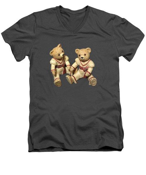 Twin Hagara Bears Men's V-Neck T-Shirt by Linda Phelps