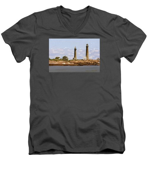 Twin Lights, Thatcher's Island, Rockport, Ma Men's V-Neck T-Shirt