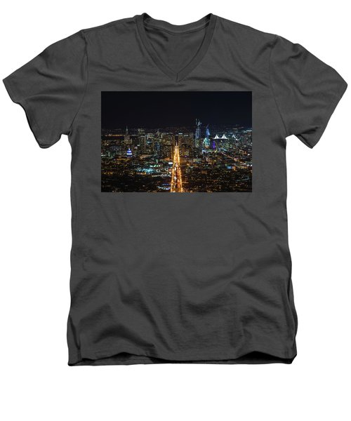 Twin Peaks Men's V-Neck T-Shirt by Alpha Wanderlust