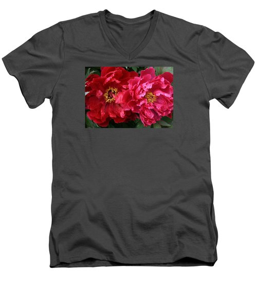Men's V-Neck T-Shirt featuring the photograph Twin Peonies by Bruce Bley