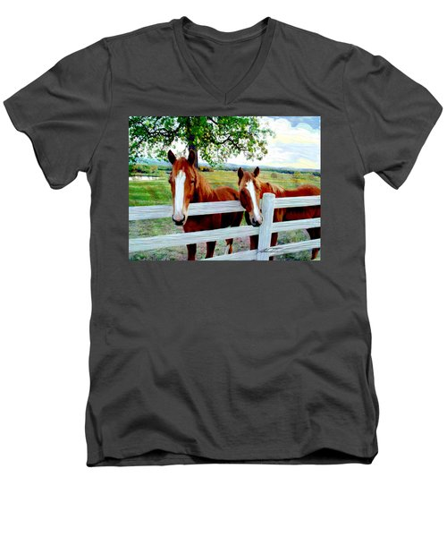 Twin Ponies Men's V-Neck T-Shirt