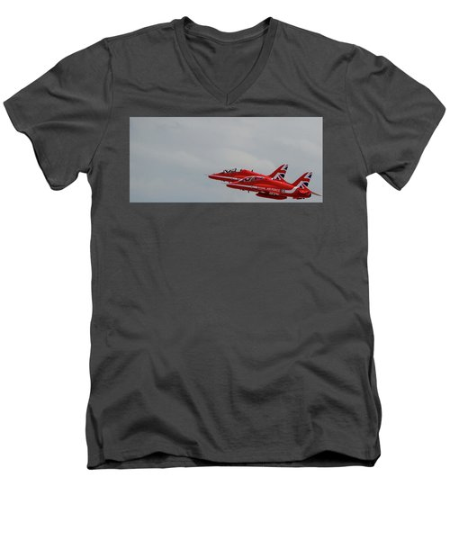 Twin Red Arrows Taking Off - Teesside Airshow 2016 Men's V-Neck T-Shirt by Scott Lyons