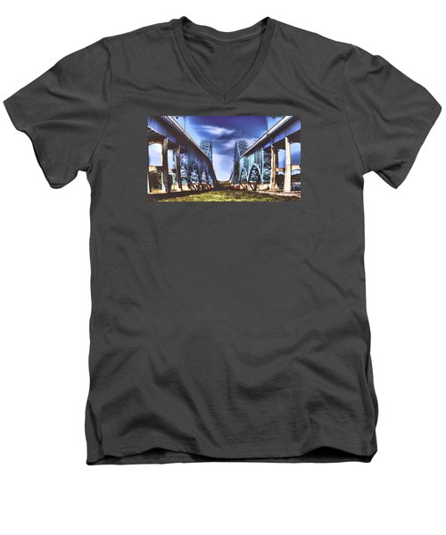 Twin Spanned Arched Men's V-Neck T-Shirt by Jim Lepard