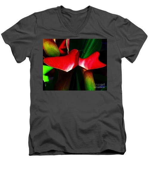 Men's V-Neck T-Shirt featuring the photograph Twins by Elfriede Fulda