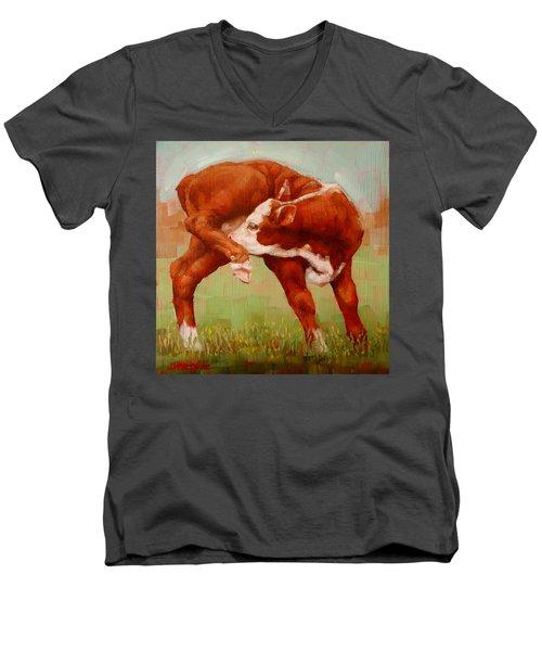 Twisted Calf Men's V-Neck T-Shirt by Margaret Stockdale