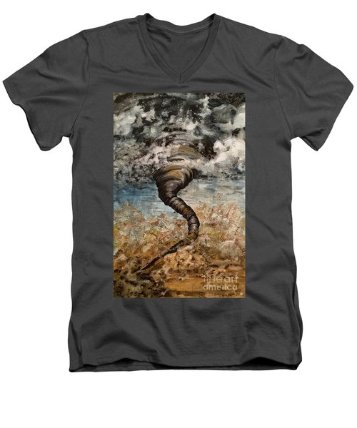 Twister On The Colorado Plains Men's V-Neck T-Shirt