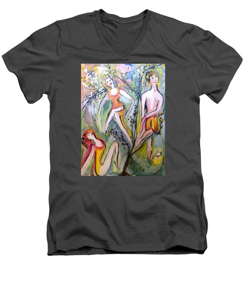 Twists And Turns Men's V-Neck T-Shirt by Judith Desrosiers