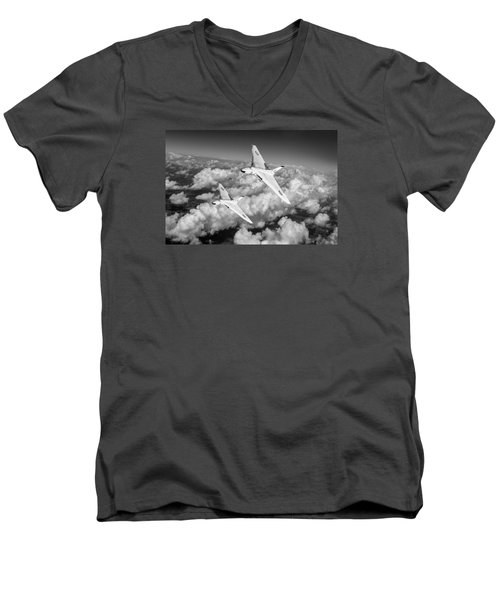 Two Avro Vulcan B1 Nuclear Bombers Bw Version Men's V-Neck T-Shirt by Gary Eason