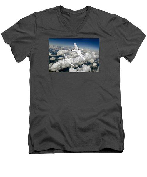 Two Avro Vulcan B1 Nuclear Bombers Men's V-Neck T-Shirt by Gary Eason