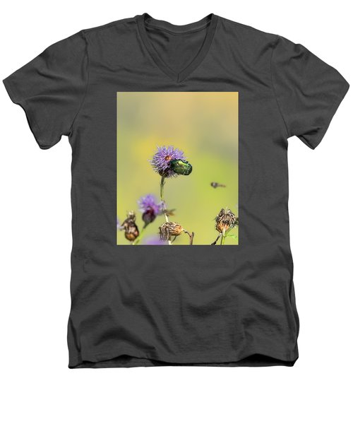 Men's V-Neck T-Shirt featuring the photograph Two Beetles On A Thistle Flower by Leif Sohlman
