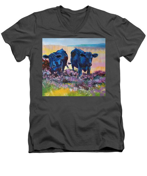 Two Black Cows On Dartmoor Men's V-Neck T-Shirt