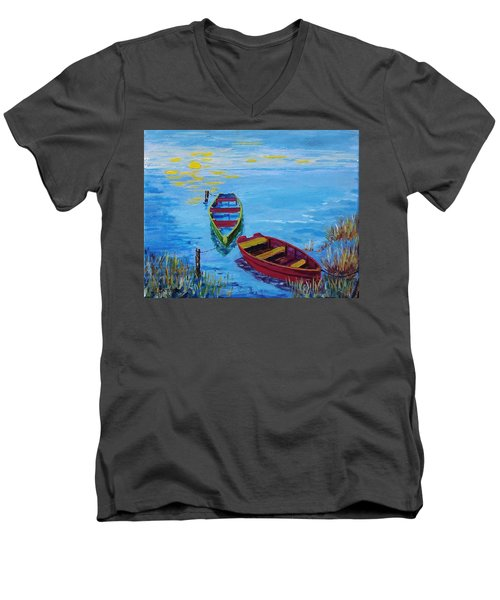 Two Boats Men's V-Neck T-Shirt by Mike Caitham