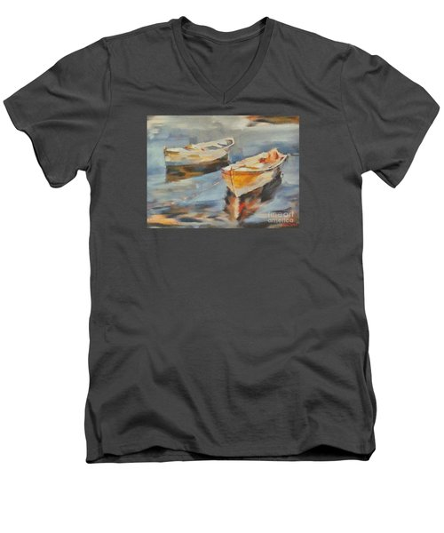 Men's V-Neck T-Shirt featuring the painting Two Boats On A Mooring by Dragica  Micki Fortuna