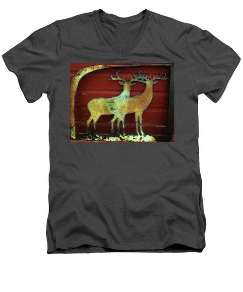 Two Bucks 1 Men's V-Neck T-Shirt by Larry Campbell