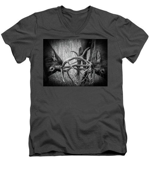 Two Bull Elk Sparring Men's V-Neck T-Shirt
