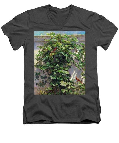 Two Cardinals On The Vine Tree Men's V-Neck T-Shirt by Svitozar Nenyuk