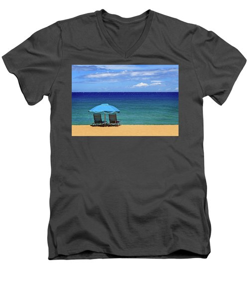 Men's V-Neck T-Shirt featuring the photograph Two Chairs And An Umbrella by James Eddy