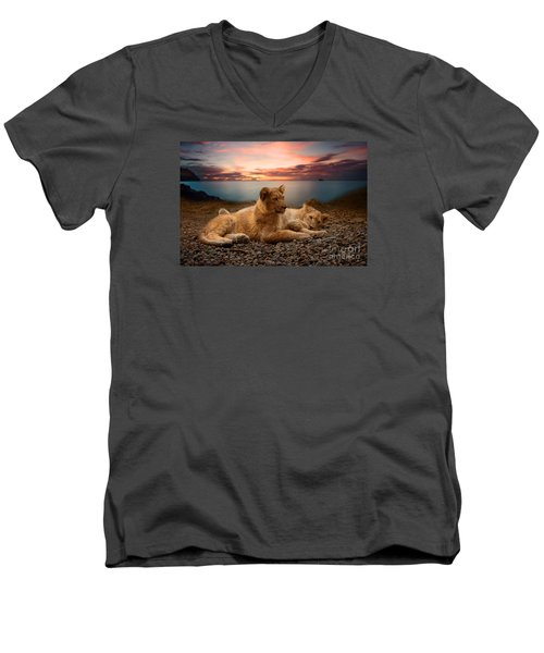 Men's V-Neck T-Shirt featuring the photograph Two by Christine Sponchia