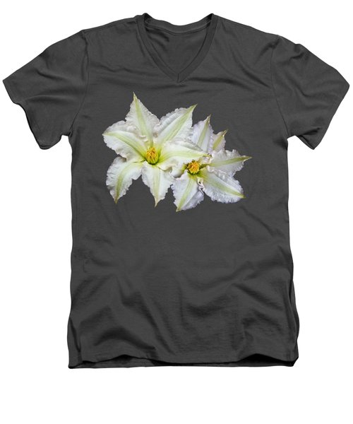 Men's V-Neck T-Shirt featuring the photograph Two Clematis Flowers On Purple by Jane McIlroy