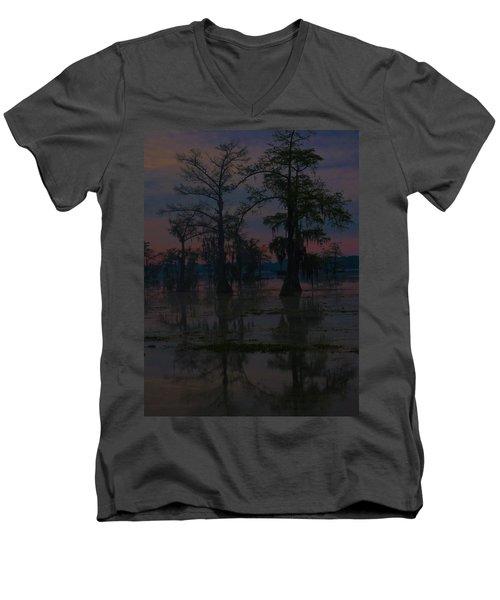 Two Cypress At Dawn Men's V-Neck T-Shirt