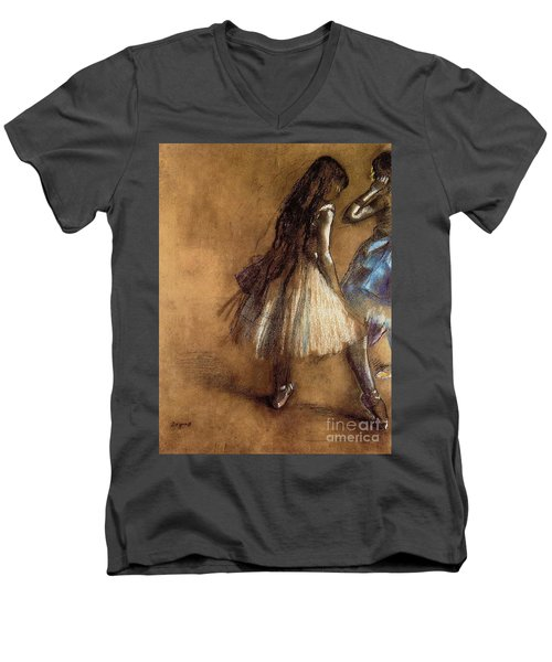 Two Dancers Men's V-Neck T-Shirt by Degas