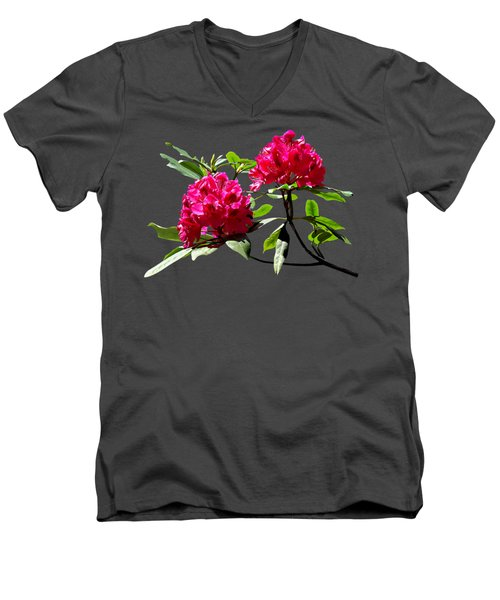 Two Dark Red Rhododendrons Men's V-Neck T-Shirt
