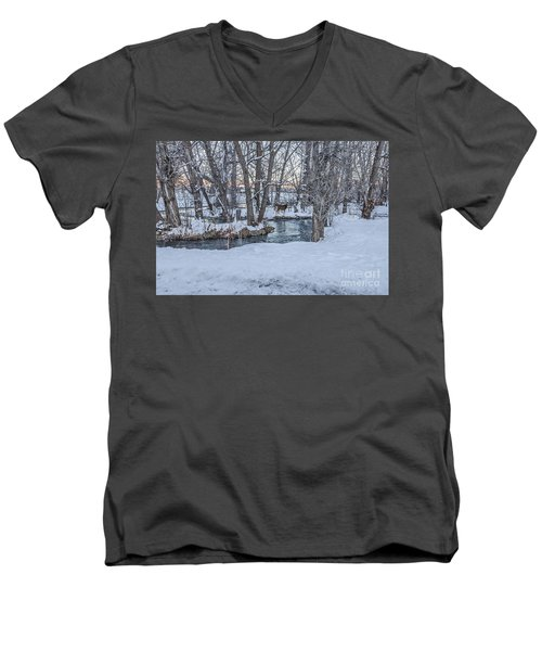 Two Deer At Sunset Men's V-Neck T-Shirt by Sue Smith