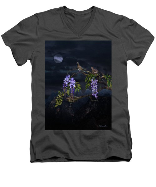Mourning Doves In Moonlight Men's V-Neck T-Shirt