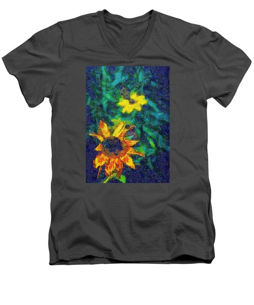 Men's V-Neck T-Shirt featuring the photograph Two Flowers by Carlee Ojeda