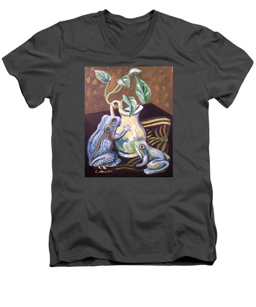 Men's V-Neck T-Shirt featuring the painting Two Frogs by Laura Aceto