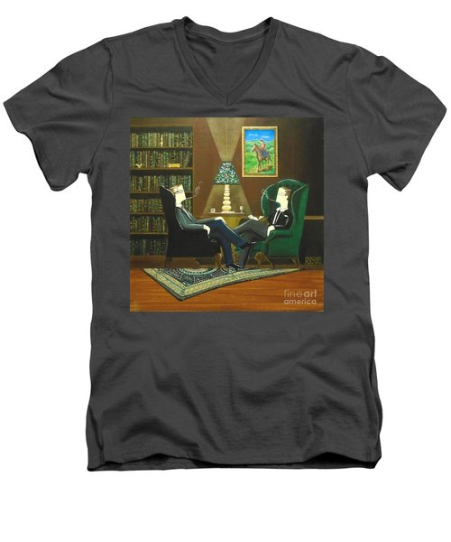 Two Gentlemen Sitting In Wingback Chairs At Private Club Men's V-Neck T-Shirt