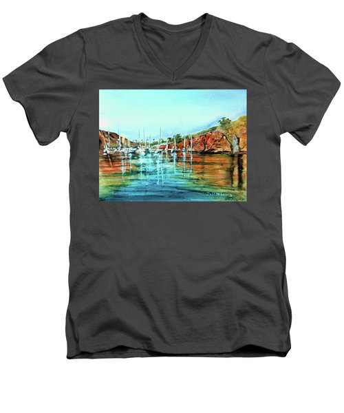 Two Harbors Catalina Morning Impressions Men's V-Neck T-Shirt by Debbie Lewis