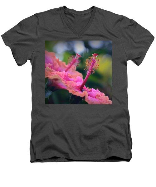 Two Hibiscus Men's V-Neck T-Shirt by Lori Seaman
