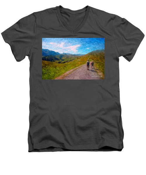 Two Hikers In Adelboden Men's V-Neck T-Shirt